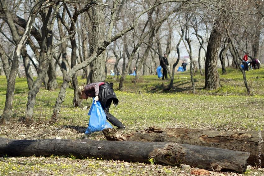 Субботник в лесу около озера Сазанка